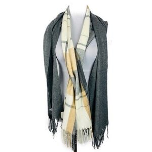 Accessories - Womens Winter Neck Scarves (2) Plaid Gray Tan